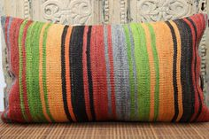 Turkish Lumbar Kilim Pillow Cover 70 x 40 by ANATOLIANRUGS on Etsy