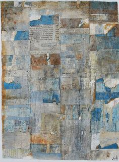 mixed media collage - blue, rust