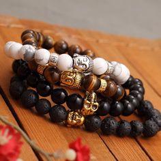 Men's Bracelet Gold Color Silver Color Buddha skull Elastic Black  Beaded Tibet Charm Jewelry Lucky bracelets for women Free shipping