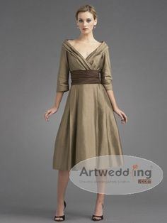 Three Quarter Sleeved Tea Length Taffeta A Line Mother of the Bride Dress...if it were a fall wedding, this is what I would wear.  I'm absolutely in love with it!!!