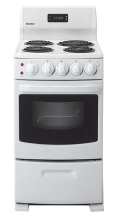 "Danby DER2009W small electric range measures only 20"" wide but offer 4 burners plus an oven. Taking up a minimum amount of space, this compact range is the perfect addition to campers, cottages, apartments, or tight spots.  - don't need now but might be good some day"