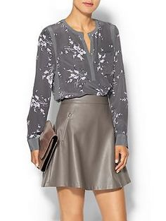 Love the lighter gray accents.  Also in light pink print. Rebecca Taylor  Long Sleeve Grapevine Top   Piperlime