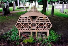 A bug hotel designed by leading architects to help declining insect populations in London. Bug Hotel, Bee House, Types Of Architecture, Bee Farm, Urban Homesteading, Edible Garden, Bee Keeping, Sustainable Design, Habitats
