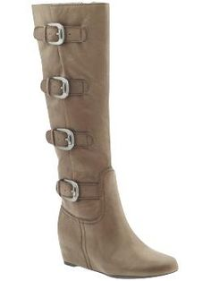 Wedge & Motorcycle combined into one design. Check! -Franco Sarto Imply Boots in Taupe