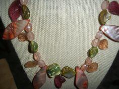 peachpink rosegreen and orange handmade necklace by crgoldart, $15.00