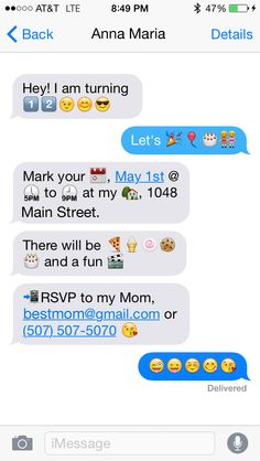 Printable cell phone text message birthday invitation iphone emoji birthday party invitation stopboris Gallery