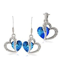 Ocean Blue Swiss Swarovski Elements Pendant and Earring Set. Only at www.pandadeals.co.uk