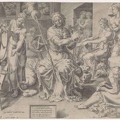 De Deugdzame vrouw spint, Dirck Volckertsz Coornhert, naar Maarten van Heemskerck, 1555 - Rijksmuseum