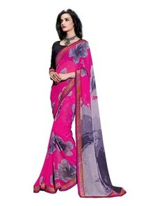 Pink Georgette Printed Saree all daily wear saree on Happydeal18.com
