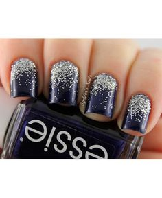 Nail art - Midnight blue nails with silver glitter -short nails -real nails - nail polish - sexy nails - pretty nails - painted nails - nail ideas - mani pedi - French manicure - sparkle nails -diy nails Homecoming Nails, Prom Nails, Wedding Nails, Blue And Silver Nails, Silver Glitter Nails, Black Silver, Sparkle Nails, Navy Blue Nails, Burgundy Nails