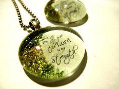 Handmade Pendant, Art Pendant, Necklace, Christian gift, Glass Cabochon, Scripture, glass Gem, wedding keepsake souvenirs,