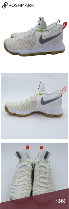 70c6085a086b NEW Nike KD Durant 9 IX Basketball Shoes Size 9.5 NEW Nike KD 9 IX  Basketball Shoes White Multi Color w  Gum Bottoms Style - 843392-900 Men s  Size 9.5 New ...