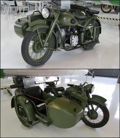 Soviet Dnepr M-72 (BMW R-71) motorcycle and sidecar Lyon Air Museum