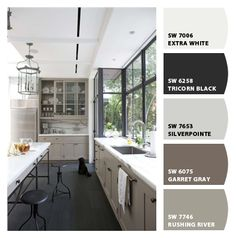 Not exactly creme cabinets, but painted with a dark floor. Paint colors from Chip It! by Sherwin-Williams