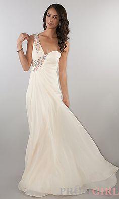 Floor Length One Shoulder Ruched Dress at PromGirl.com