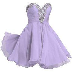 VILAVI Women's A-line Sweetheart Short Chiffon Rhinestone Homecoming... ($112) ❤ liked on Polyvore featuring dresses, sweetheart dress, a line dress, short homecoming dresses, short purple dresses and short dresses