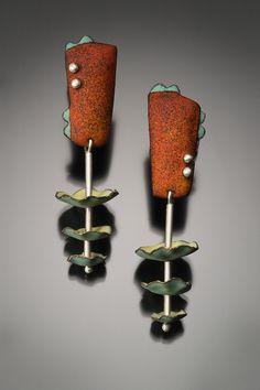 Earrings | Angela Gerhard. 'Cha Cha'  Sterling silver and Vitreous enamel