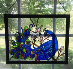 Peacock Faux Stain Glass/ Peacock Framed Art/ Peacock Window Art/ Stain Glass Suncatcher/ Hand Painted Peacock Stain Glass/ Large Peacock