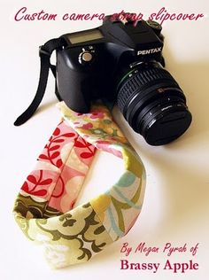 Scraps of fabric make that camera around your neck a real accessory.