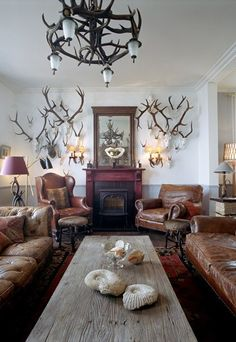 Love them or loathe them, which-ever your sensibilities, they certainly make a statement in a room. Gone are the days when antlers were consigned to dusty trophy rooms. Wabi Sabi, My French Country Home, Amish Country, Trophy Rooms, Living Spaces, Living Room, The Ranch, Rustic Decor, Rustic Wood