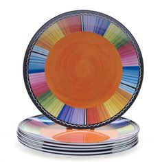 Bring a bright and colorful touch to your dining table with this whimsical Serape salad plate set. Hand-painted in a variety of fun colors, these lovely plates will add a splash of color and texture to your dining table.
