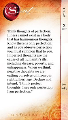 Think Perfection NOT Illness!