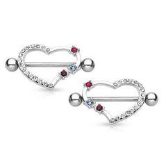PAIR Of CZ Paved Heart Nipple Shield Lip Jewelry, Jewelery, Body Piercing, Piercings, Nipple Rings, Nose Stud, Cuff Earrings, Anklets, Belly Button Rings