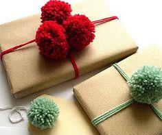 Yarn gift wrap! great idea with left over yarn