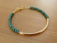Gold Bracelet, Gold Tube with Blue/Green Seed Beads, Bangle Bracelet, Friendship Bracelet, Gold Bar Bracelet
