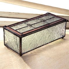 J. Devlin Glass Art Vintage and Rose Stained Glass Keepsake Box