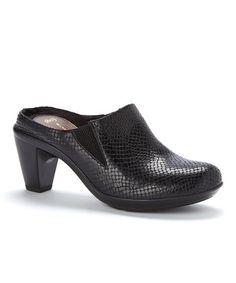 Look what I found on #zulily! Black Python Corunna Leather Mule #zulilyfinds