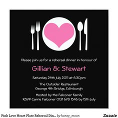 Pink Love Heart Plate Rehersal Dinner Invitation