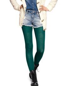 Green Tights, Shorts With Tights, Leggings, Denim Shorts, Pantyhose Fashion, Fashion Tights, Tights Outfit Winter, Nylons, Cable Knit Tights