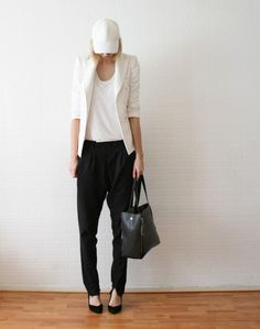 Shop this look on Kaleidoscope (hat, blazer, top, pants , tote)  http://kalei.do/VyOr6EPE5phY8pFV