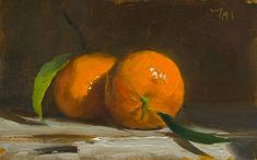 Two clementines A Daily painting by Julian Merrow-Smith