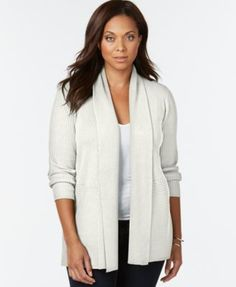 JM Collection Woman Plus Size Ribbed Open-Front Cardigan