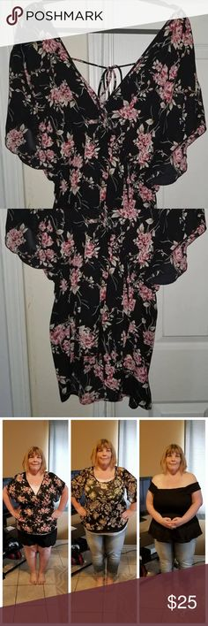 2763b8c7899 Torrid Sz 2 Sheer Black Floral Top Plus Size This is a beautiful black  sheet top