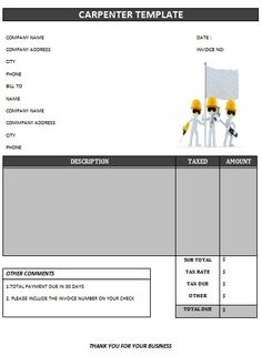 carpenter invoice template-17 | carpenter invoice templates, Invoice examples