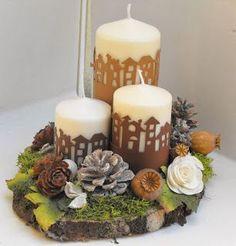Centrotavola Christmas Candles, Christmas Home, Christmas Wreaths, Christmas Crafts, Xmas, Christmas Ornaments, Diy Centerpieces, Christmas Centerpieces, Christmas Decorations