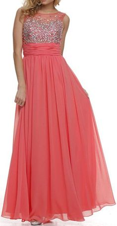 Studded Bateau Neck Ruched Empire Waist Coral Formal Dress