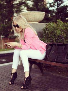 Black heels, white pant & pink top