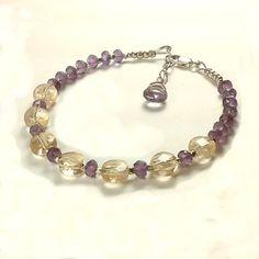 Amethyst Citrine Bracelet Handmade Sterling Silver Gemstone Beaded Bracelet