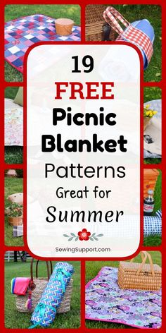 Summer DIY projects to sew. 19 free picnic blanket sewing patterns, projects, and tutorials for fun spring, summer, and autumn outdoor gatherings. Many easy to make waterproof styles. Diy Sewing Projects, Sewing Projects For Beginners, Sewing Hacks, Sewing Tutorials, Sewing Crafts, Sewing Tips, Fabric Crafts, Picnic Quilt, Summer Diy