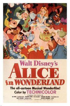 Walt Disney's Alice in Wonderland MOVIE POSTER 1951 24X36 VINTAGE CARTOON - VY1