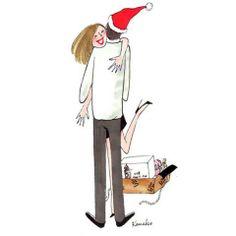 mon père noël à moi Christmas Love, Christmas Images, Christmas Snowman, Xmas, Illustrations, Illustration Art, My Little Paris, Oeuvre D'art, Oeuvres