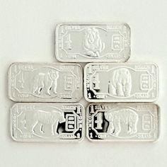 .999 Fine Pure REAL Silver 5 Bars x 1 Gram ea Lion, Tiger, Panda, Grizzly & Polar