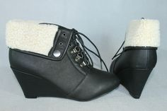 NWB Fur-Lined Fold Over Convertible Wedge Bootie Lace-up in Black | eBay