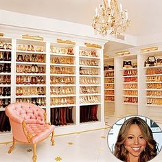 Mariah Carey's Closet.  Wish I had all those shoes!!