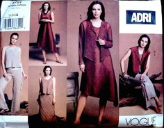 Vogue dated 2003 Vogue Patterns, Vintage Sewing Patterns, Jacket Dress, Casual Chic, Retro Vintage, Fabric, Skirts, Jackets, Dresses