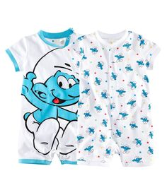 Short pyjama suits with short sleeves. One has a large Smurf print on the front and press-studs on one shoulder and at the crotch. The other has a Smurf print pattern and press-studs at the front and along one leg. Ribbing at the neck, cuffs and hems.  Available sizes: 4M-24M.  100% cotton.  NRs 1,950.